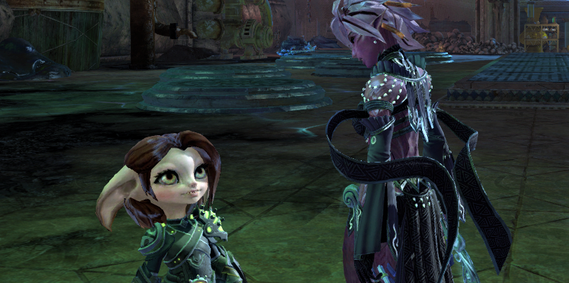 Screenshot of Taimi talking to the Commander in the aftermath of the battle for Gandara