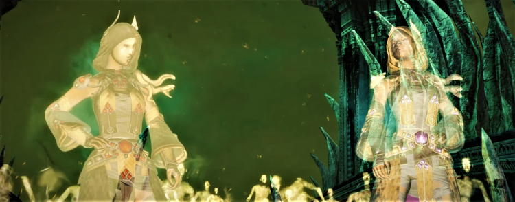 Screenshot of Nalah & Dalah's ghost army launching their attack on the gates of the Moon Palace
