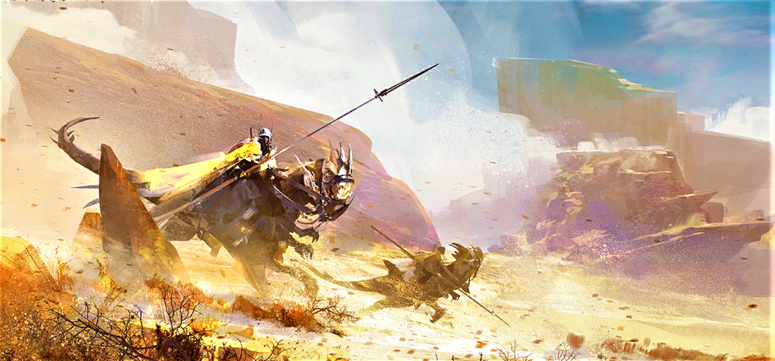 Screenshot of ArenaNet's artwork for the Domain of Kourna